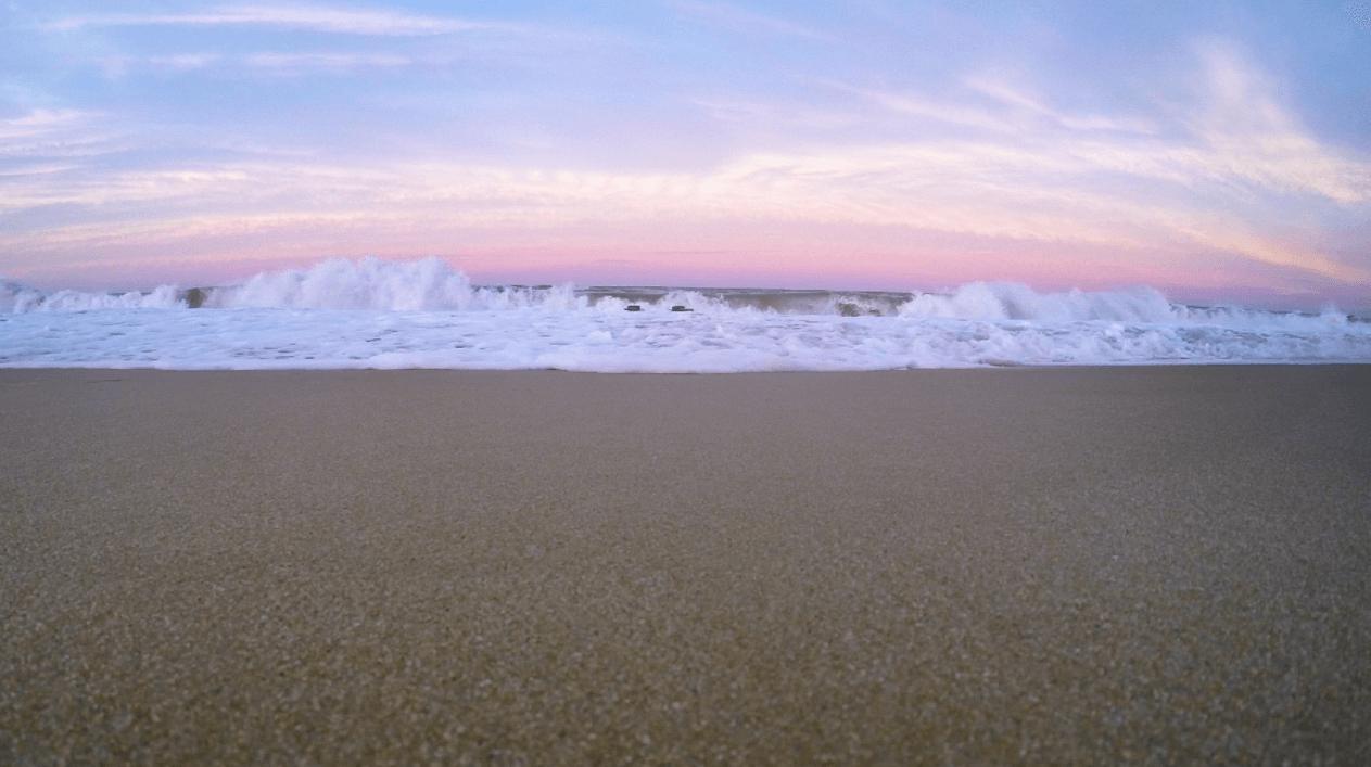 pink sky ocean waves